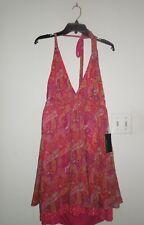 NWT Alice + Olivia 100% Silk Hot Color Paisley Halter Party Dress w Sequin Hem L