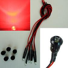 5 Stück LED 3mm Rot Kunststoff-Fassung Halter 9V - 12V Verkabelt