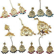 Jwellmart Indian Gold Plated Colorful CZ Stone Jadau Style Earring Tikka Set