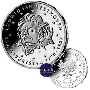 20 euros ALLEMAGNE 2020 - 250ème anniversaire Ludwig van BEETHOVEN - Argent 925‰