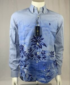Polo Ralph Lauren Classic Fit Blue Long Sleeved Shirt with Island Print Size S