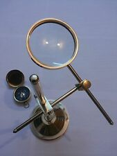 Brass Magnifier Map Reader Magnifying Glass Collectible Table Top Decorative