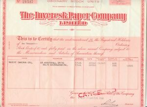UNITED KINGDOM 1961 THE INVERESK PAPER COMPANY Ltd. Zertifikat über 1.000 Aktien
