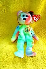 COLL. MINT ORIGINAL RETIRED PEACE BEAR BEANIE BABY! NO TAG ERRORS, NO STAMP!