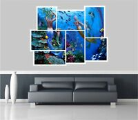 Huge Collage View Fantasy Mermaids Under Sea Wall Stickers Mural Decal 443