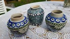 3 sehr schöne alte Bunzlau Jugendstil Keramik Vasen um 1900, gebraucht dekorativ