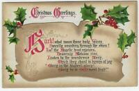 Tuck's Christmas Greetings Postcard with Holly and Hymn Vintage Holidays 1910