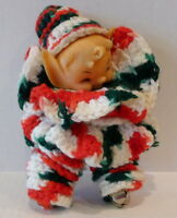 Christmas crochet Elf  Doll with jingle bells Vintage 7""