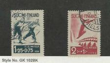 Finland, Postage Stamp, #B31-B32 Used, 1938 Sports Skiing