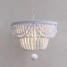 Rustic 2-Tier Wooden Bead Classic Metal Pendant Light Ceiling Suspended Lamp