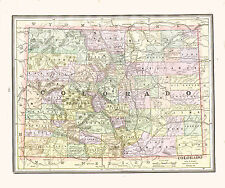 1890 Color Maps of COLORADO and NEW MEXICO TERRITORY - Two Maps on one page
