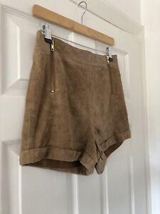 Ladies Tan Brown TOPSHOP Suede Hot Pant Shorts SIZE 10 UK