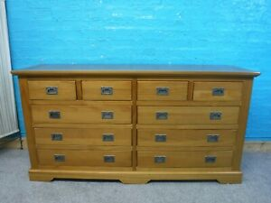 M&S SOLID WOOD 10DRAWER WIDE CHEST H79 W154 D44cm- VISIT OUR WAREHOUSE