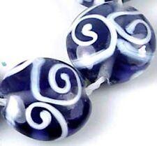 18mm Lampwork Handmade Glass Tanzanite Spirl Lentil Beads (6)