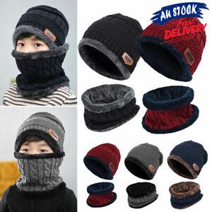 2 in 1 Boy Knitted Beanie Girl Winter Warm Baby kids Soft Hat Scarf Set Cap
