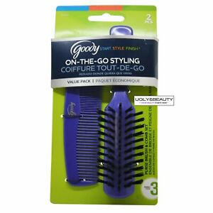 Goody On-The-Go Styling, Hair Brush and Comb Set - Pick your color