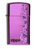 ZIPPO Benzin Feuerzeug Purple Roses SLIM 60000058 NEU OVP