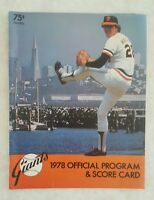 1978 SAN FRANCISCO GIANTS SCOREBOOK PROGRAM UNSCORED vs LOS ANGELES DODGERS
