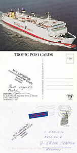 GB / BELGIAN FERRY MV LARKSPUR A SHIPS CACHED COVER & SIGNED COLOUR POSTCARD
