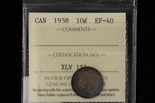 1938 Canada. 10 Cents. ICCS Graded EF-40 (XLV151)