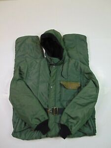 Vtg Refrigiwear Men XL Hooded Coveralls Snow Suit Insulate Cold Weather Green