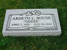 "CEMETERY GRAVE STONE- Gray- multiple engraving options include ""flat"" or ""grass"""