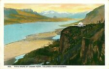 Columbia River Highway Or Vista House At Crown Point Postcard c1930s