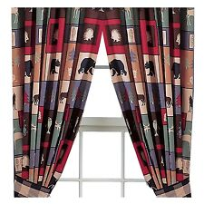 """Pair The Woods Bear Wolf Cabin Lodge Curtains Rod Pocket Panel Drapes 84""""x84"""""""
