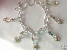 SILV-TOGGLE BRACELET WITH  T/T CRYSTAL SHOE CHARMS-0656