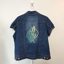Baby Phat Jean Jacket Plus Size 2X Logo Denim Shirt Top Short Sleeve Blue