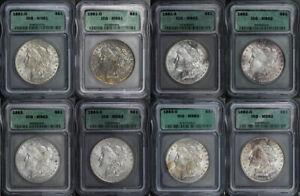 1881-O, 1881-S, 1882, 1883, 1883-O Morgan Dollar 8 Coin Set ICG MS-61, MS-62