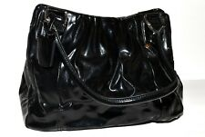 Worthington Black Faux Patent Leather Ruched Top 3 Section Tote Bag