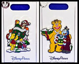 Disney Parks 2 Pin Lot CHRISTMAS Pooh & friends + Holidays Muppets - NEW!