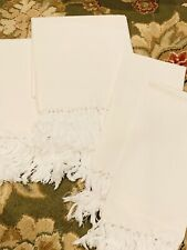 Brand New White Linen Frilly Bath Towels From Italy