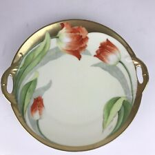 Antique Bavaria Hand Painted China Plate Tulip Artist Signed Dish