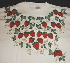 STRAWBERRY T SHIRT TEE TOP PLUS 2X XXL HANDPAINTED FRUIT OF THE LOOM