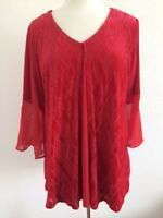 NY Collection Women's Blouse Top  Plus  Size 1X Red velvet bell Sleeve NWT(305)