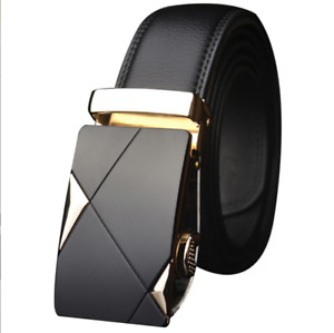 Fashion Men's Automatic Buckle Waistband Leather Waist Strap Belts Formal