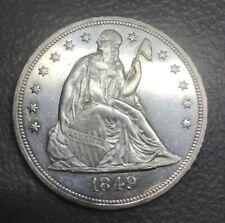 1849 seated Liberty dollar   ,  AU details