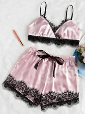 2Pcs Ladies Sexy Satin Silk Sleepwear Babydoll Lingerie Nightdress Pyjamas Suit