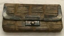 VINTAGE SMALL  CROCODILE WALLET WITH STERLING TRIM