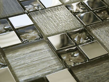 NEW SILVER GLASS METAL FOIL & CHROME SQUARE MOSAIC WALL TILES 8MM - RRP £16