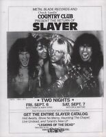 SLAYER 1985 HELL WAITS TOUR UNUSED RESEDA, CALIF. COUNTRY CLUB FLYER / HANDBILL