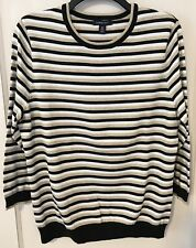 Lands' End gold and black stripe shimmer sweater Size Medium cotton HOLIDAY