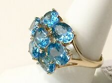 Gorgeous Blue Topaz 10k Yellow Gold 7 Stone Ring 5.6g Size 8