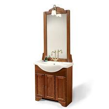 Mobile bagno country arte povera arredo bagno classico finitura noce lavabo 75cm