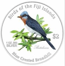 New Birds Fiji Fine Silver Proof .999 2007 Zealand Mint Coin 2$ Blue Broadbill