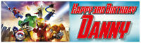 """2 x PERSONALISED LEGO SUPERHERO BANNERS 3ft - 36 """"x 11"""" PARTY BIRTHDAY"""
