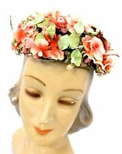 VTG Pillbox Hat Ladies Garden Party Coral Flowers Pearls Feathers Gorgeous 1950