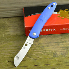 Spyderco Roadie N690Co Sheepsfoot Blade Blue FRN Handle Slipjoint Knife C189PBL